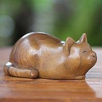 Wood sculpture, 'Kitty Cat Bliss' - Contented Cat Wood Sculpture
