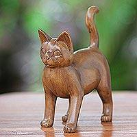 Wood sculpture, 'Guardian Cat' - Solid Balinese Wood Cat
