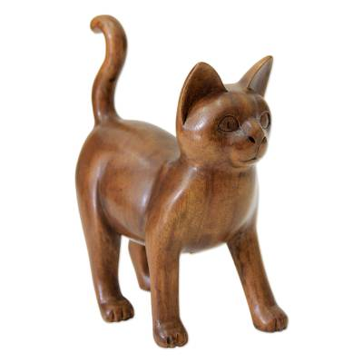 Wood sculpture, 'Guardian Cat' - Wood Sculpture from Indonesia
