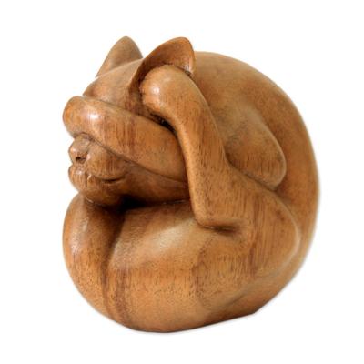 Wood sculpture, 'Yogi Cat' - Indonesian Wood Yoga Sculpture