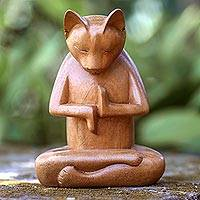 Wood sculpture, 'Full Lotus Cat' - Wood sculpture