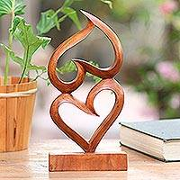 Wood sculpture, 'Love, Head Over Heels' - Suar Wood Heart Sculpture