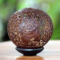Coconut shell sculpture, 'Eclipse Ogre' - Coconut shell sculpture