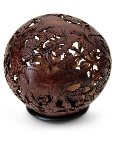 Coconut shell sculpture, 'Water Buffalo' - Coconut Shell Sculpture