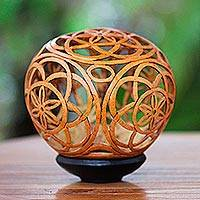 Coconut shell sculpture, 'Flower of Life'