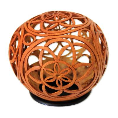 Coconut shell sculpture, 'Flower of Life' - Coconut Shell Sculpture with Stand