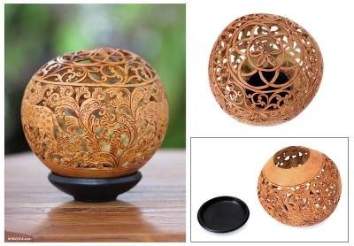 Coconut shell sculpture, 'Leopard Jungle' - Handmade Coconut Shell Sculpture