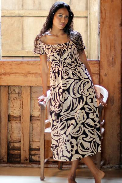 Cotton batik dress, 'Bali Shadows' - Floral Batik Dress