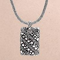 Men's sterling silver pendant necklace, 'Ethereal Chains' - Handcrafted Men's Pendant Necklace from Indonesia