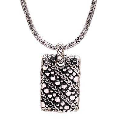 Men's sterling silver pendant necklace, 'Ethereal Chains' - Men's Handcrafted Sterling Silver Pendant Necklace