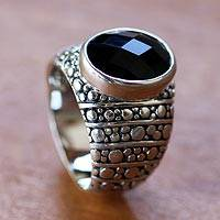 Men's onyx ring, 'Javanese Knight' - Men's onyx ring