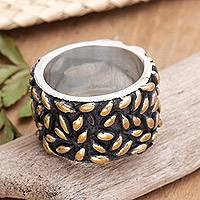 Gold plated band ring, 'Rice Stars'