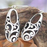 Sterling silver dangle earrings, 'Karangasem Castle' - Sterling silver dangle earrings