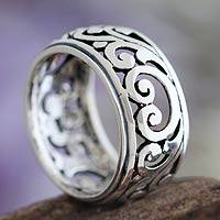 Sterling silver band ring, 'Karangasem Castle' - Hand Made Sterling Silver Band Ring