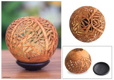 Coconut shell sculpture, 'Towering Bamboo' - Coconut Shell Sculpture