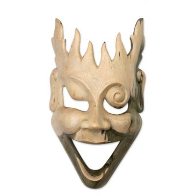 Wood mask, 'Man of Fire' - Unique Modern Wood Mask