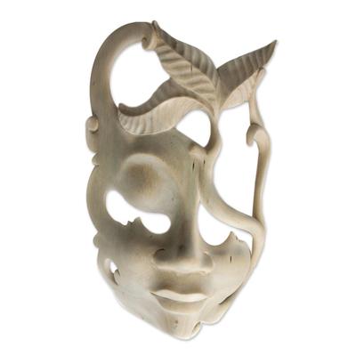 Hibiscus wood mask, 'Javanese Girl' - Hibiscus Wood Abstract Mask