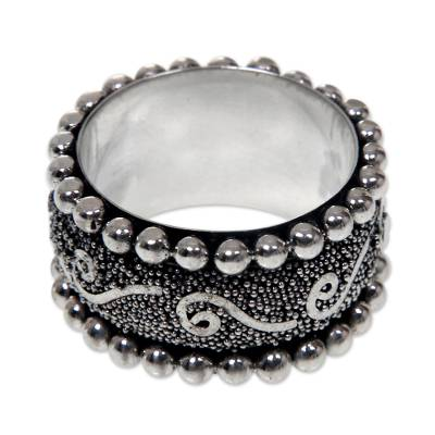 Sterling silver band ring, 'Queen of Java' - Hand Made Sterling Silver Band Ring