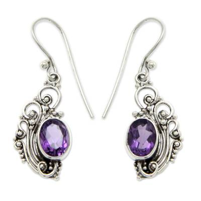 Fair Trade Balinese Sterling Silver and Amethyst Dangle Earring