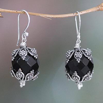 Onyx dangle earrings, 'Bali Moon' - Onyx dangle earrings