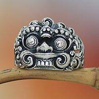Men's sterling silver ring, 'Witch Rangda' - Men's sterling silver ring
