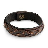 Men's distressed leather bracelet, 'Sumatra Journeys' - Men's Handcrafted Leather Braided Bracelet