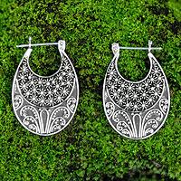 Sterling silver half hoop earrings, 'Celuk Stars' - Sterling Silver Hoop Earrings