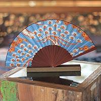 Silk batik fan, 'Balinese Springtime'