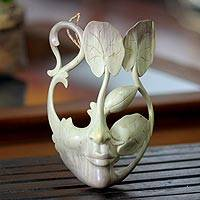 Wood mask, 'Lotus Lady' - Lotus Leaves and Beautiful Lady Wood Mask