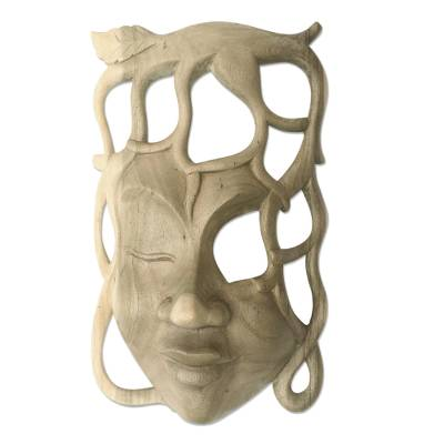 Wood mask, 'Woman of the Forest' - Hand Made Contemporary Wall Mask