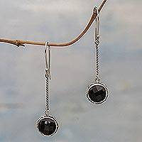 Onyx dangle earrings, 'Faces of Night' - Onyx and Sterling Silver Dangle Earrings from Indonesia