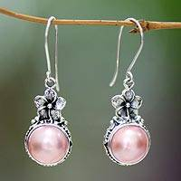 Pearl flower earrings, 'Pink Frangipani' - Sterling Silver and Pearl Floral Dangle Earrings