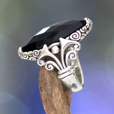 pandora necklace for girlfriend - Unique Sterling Silver and Onyx Cocktail Ring