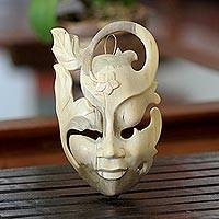 Wood mask, 'Frangipani Flower Woman' - Hibiscus Wood Wall Mask