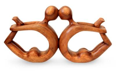 Wood sculpture, 'Yoga Circle of Love' - Wood Sculpture from Indonesia