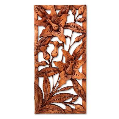 Wood relief panel, 'Balinese Orchids' - Floral Wood Wall Sculpture