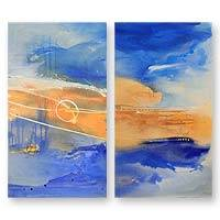 'The Singing of the Sea' (diptych, 2005) - Abstract Landscape Painting (Diptych)