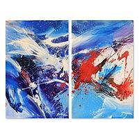 'Soul Expression II' (diptych, 2010) - Expressionist Acrylic Painting (Diptych)