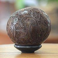 Coconut shell sculpture, 'Seahorses'