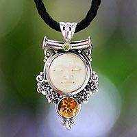 Peridot and citrine pendant necklace, 'Sleepy Moon' - Unique Citrine and Cow Bone Pendant Necklace