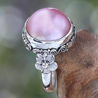 Pearl flower ring, 'Love Moon'