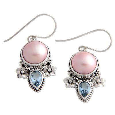 Pearl and blue topaz flower earrings, 'Love Moon' - Hand Made Pearl and Blue Topaz Dangle Earrings