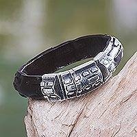 Men's sterling silver and leather bracelet, 'Woodsman'