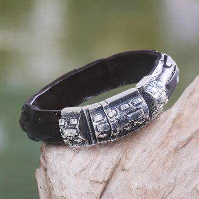 Men's sterling silver and leather bracelet, 'Woodsman' - Men's Sterling Silver and Leather Wristband Bracelet