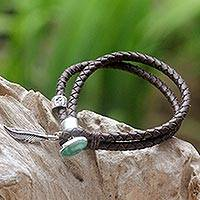 Turquoise and leather braided bracelet, 'Native Freedom' - Natural Turquoise and Leather Bracelet