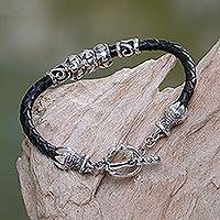 Sterling silver and leather braided bracelet, 'Maltese Cross'