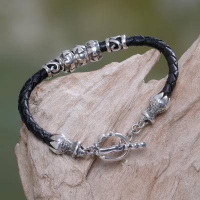 Sterling silver and leather braided bracelet, 'Maltese Cross' - Leather and Sterling Silver Bracelet