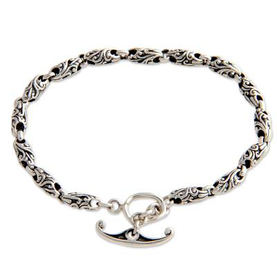 Sterling silver link bracelet, 'To Flourish' - Hand Crafted Sterling Silver Link Bracelet