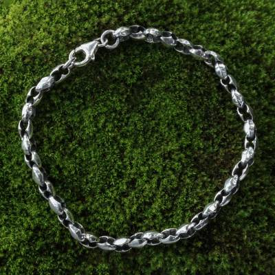 Sterling silver chain bracelet, 'Life Flourishes' - Sterling Silver Chain Bracelet