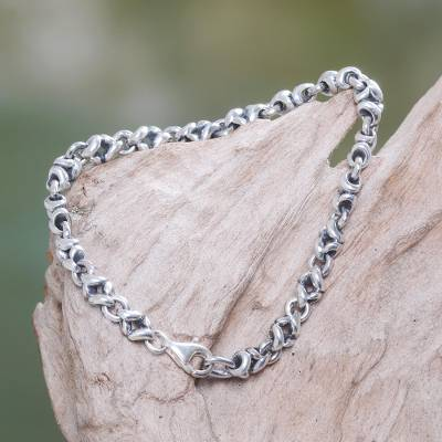 Sterling silver chain bracelet, 'Source of Life' - Sterling silver chain bracelet